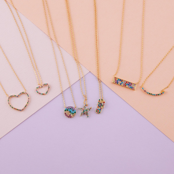 """Dainty metal necklace featuring a flipflop pendant with multicolor cubic zirconia details. Pendant approximately .5"""". Approximately 18"""" in length overall."""