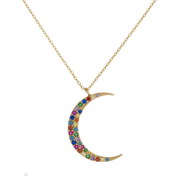 """Dainty metal necklace featuring a moon pendant with multicolor cubic zirconia details. Pendant approximately 1"""". Approximately 18"""" in length overall."""