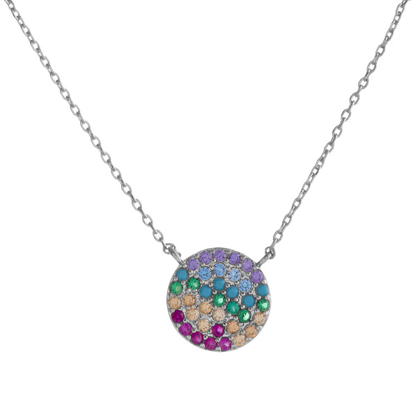"Dainty cable chain necklace featuring a disc pendant with multicolor cubic zirconia details. Pendant approximately .5"". Approximately 18"" in length overall."