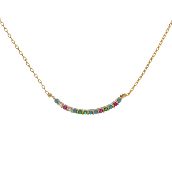 """Dainty metal necklace featuring a bar pendant with multicolor cubic zirconia details. Pendant approximately 1"""" wide. Approximately 18"""" in length overall."""