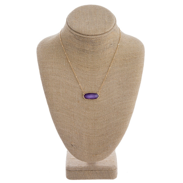 """Sapphire inspired bar necklace. Approximately 16"""" in length."""