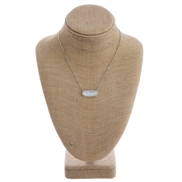 """Mother of pearl inspired bar necklace. Approximately 16"""" in length."""
