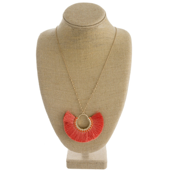 """Dainty cable/ball chain necklace featuring a tassel pendant with enamel accents. Pendant approximately 3"""". Approximately 36"""" in length overall."""