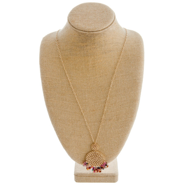 """Dainty oval link chain necklace featuring a cable chain inspired pendant with resin teardrop accents. Pendant approximately 3"""". Approximately 36"""" in length overall."""