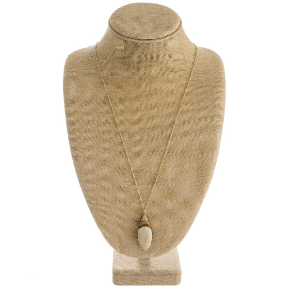 """Long satellite chain necklace featuring a natural stone inspired pendant. Pendant approximately 2"""". Approximately 34"""" in length overall."""