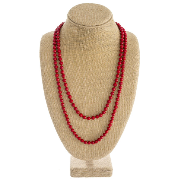 "Long layered natural stone inspired beaded necklace. Approximately 34"" in length."
