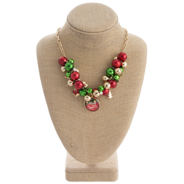 """Merry Christmas dome pendant jingle beaded statement necklace. Approximately 16"""" in length."""