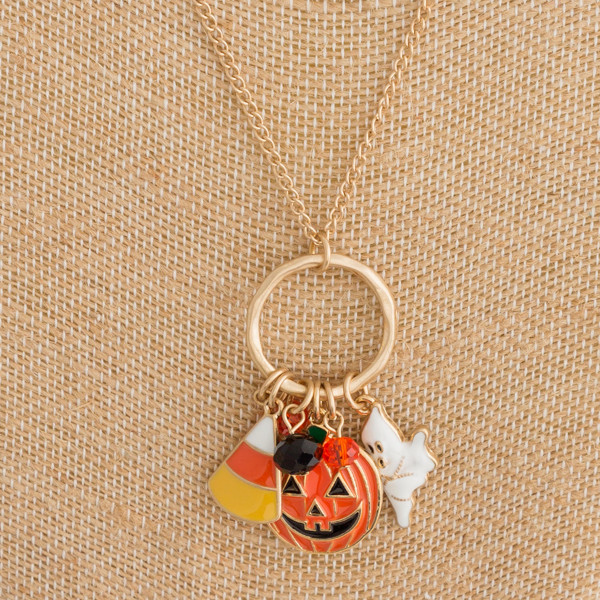 "Curb chain halloween charm pendant necklace. Pendant approximately 2"" in length. Approximately 22"" in length overall."