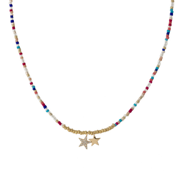 Wholesale dainty seed beaded necklace two star accents cubic zirconia details