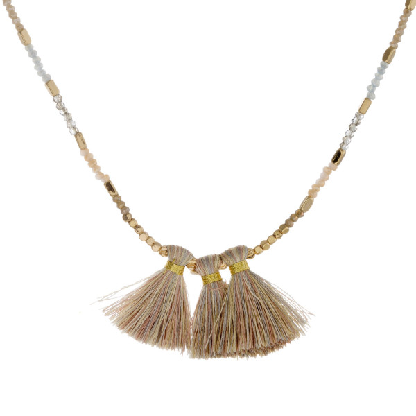 "Beaded necklace featuring iridescent bead details, tassel pendant, and gold accents. Approximately 16"" in length."