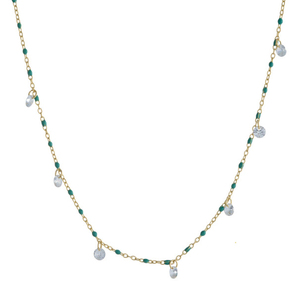"Dainty cable chain necklace featuring beaded details with rhinestone accents. Approximately 16"" in length."