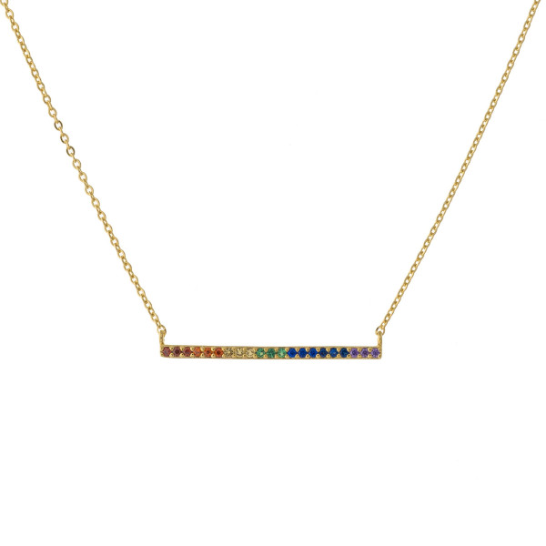 """Dainty cable chain necklace featuring a multicolor cubic zirconia bar pendant. Pendant approximately 1.5"""". Approximately 15"""" in length overall."""