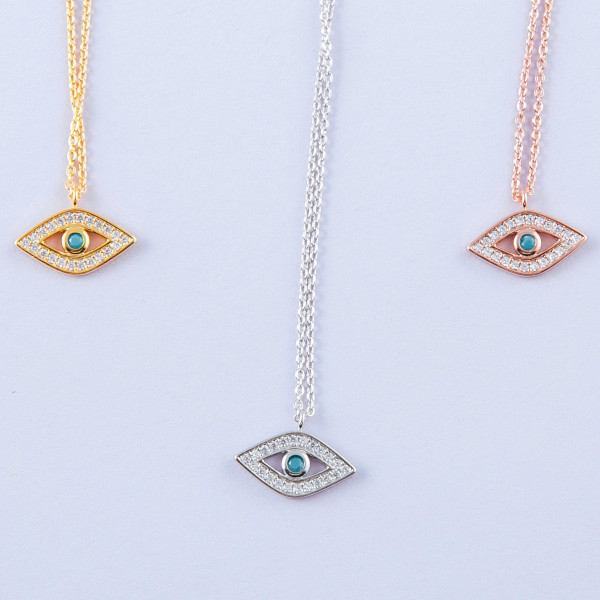 """Dainty cable chain necklace featuring a evil eye pendant with cubic zirconia details. Pendant approximately 1cm. Approximately 15"""" in length overall."""
