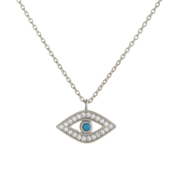"""Dainty cable chain necklace featuring a traditional good luck pendant with cubic zirconia details. Pendant 1cm wide. Approximately 16"""" in length overall."""