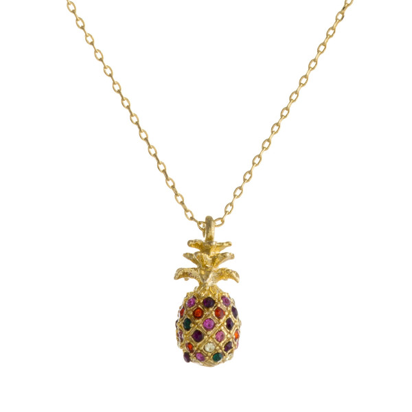 "Dainty cable chain necklace featuring a pineapple pendant with multicolor cubic zirconia details. Pendant .5"". Approximately 16"" in length overall."
