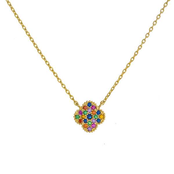 "Dainty cable chain necklace featuring a clover pendant with multicolor cubic zirconia details. Pendant approximately 1cm. Approximately 18"" in length overall."