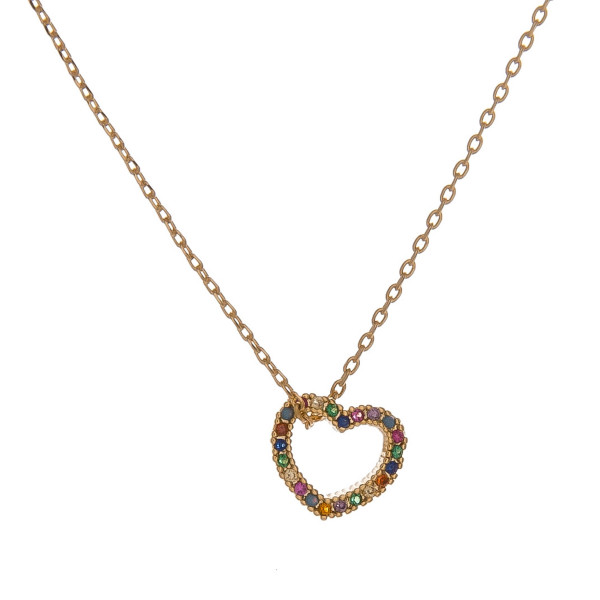 "Dainty cable chain necklace featuring a heart pendant with multicolor cubic zirconia details. Pendant approximately 1cm. Approximately 18"" in length overall."