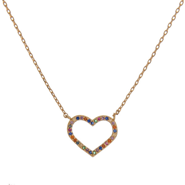 "Dainty cable chain necklace featuring a heart pendant with multicolor cubic zirconia details. Pendant approximately .5"". Approximately 18"" in length overall."