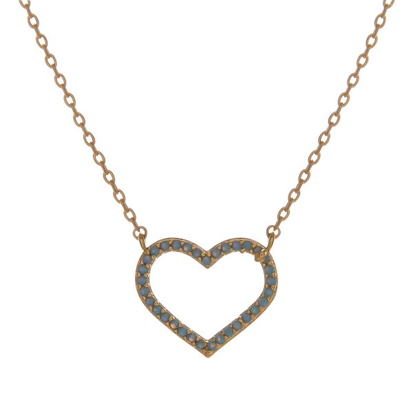 """Dainty cable chain necklace featuring a heart pendant with turquoise cubic zirconia details. Pendant approximately .5"""". Approximately 18"""" in length overall."""