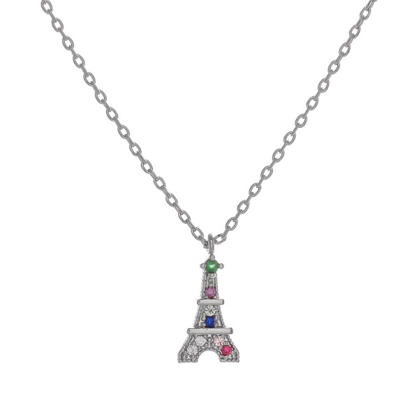 "Dainty cable chain necklace featuring a Eiffel tower inspired pendant with multicolor cubic zirconia details. Pendant approximately 1cm. Approximately 18"" in length overall."