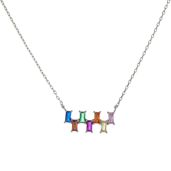 "Dainty cable chain necklace featuring a multicolor cubic zirconia bar pendant. Pendant approximately .75"". Approximately 18"" in length overall."