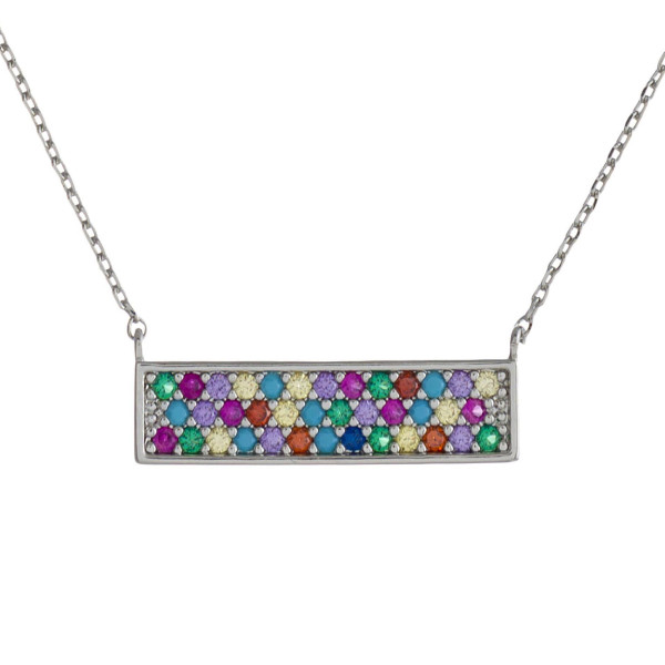 "Dainty cable chain necklace featuring a bar pendant with multicolor cubic zirconia details. Pendant approximately .75"" wide. Approximately 18"" in length overall."