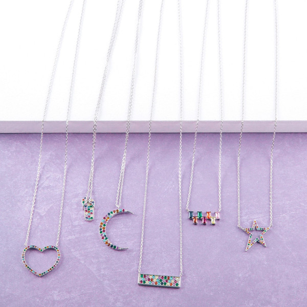 """Dainty cable chain necklace featuring a bar pendant with multicolor cubic zirconia details. Pendant approximately .75"""" wide. Approximately 18"""" in length overall."""