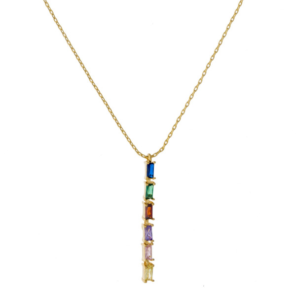 """Dainty cable chain necklace featuring a multicolor cubic zirconia bar pendant. Pendant approximately 1.5"""". Approximately 18"""" in length overall."""