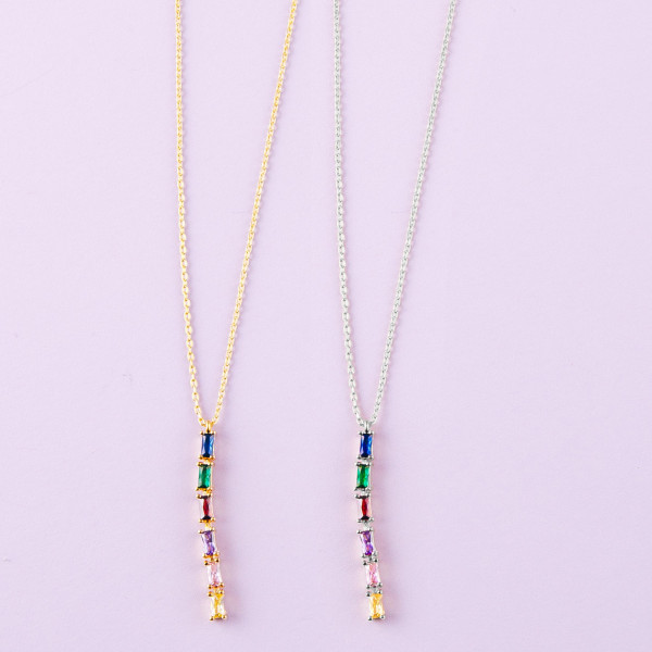 "Dainty cable chain necklace featuring a multicolor cubic zirconia bar pendant. Pendant approximately 1.5"". Approximately 18"" in length overall."