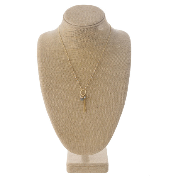 Wholesale dainty curb chain necklace faceted bead details charm pendant chain in