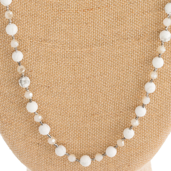 """Half chain link and natural stone beaded necklace with toggle clasp closure. Approximately 31"""" in length."""