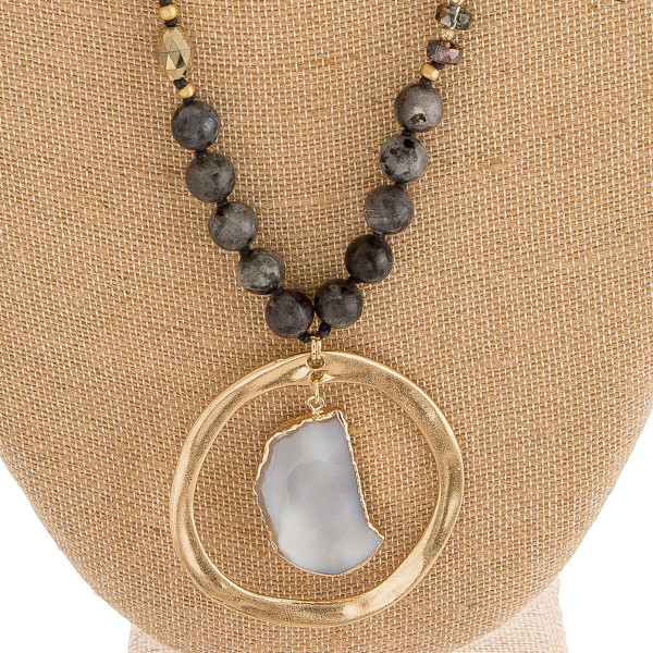 """Semi precious beaded agate nested pendant necklace. Pendant approximately 2.5"""" in diameter. Approximately 36"""" in length overall."""