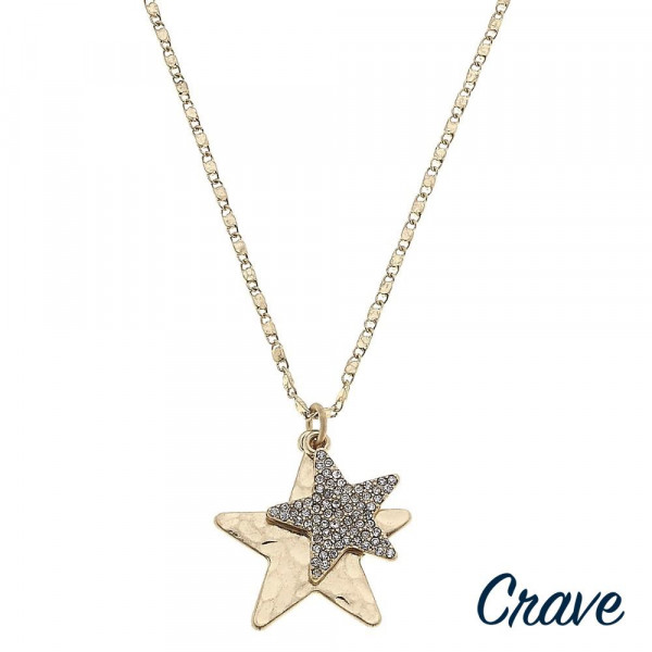 """Valentino chain necklace featuring two star pendants one with cubic zirconia details. Pendant approximately 1"""". Approximately 20"""" in length overall."""