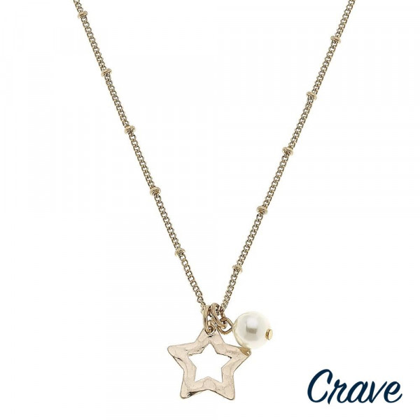 """Satellite chain necklace featuring a star pendant with a peal accent. Pendant approximately .5"""". Approximately 18"""" in length overall."""
