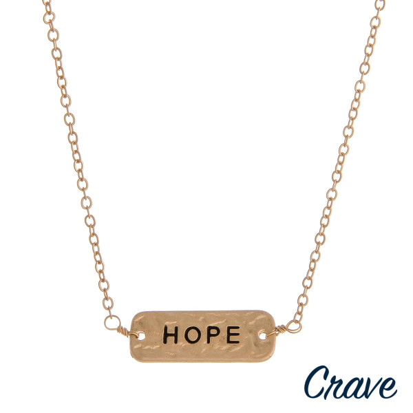 """Gold cable chain """"Hope"""" engraved hammered reversible bar pendant necklace. Pendant approximately 1"""" in length. Approximately 16"""" in length."""