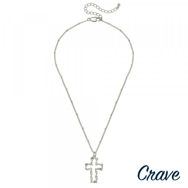 """Dainty satellite chain necklace featuring a twisted cross pendant. Pendant approximately 1"""". Approximately 18"""" in length overall."""