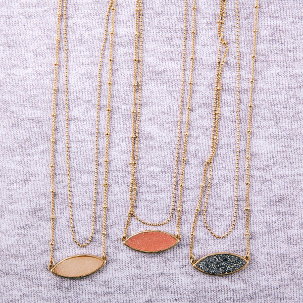 """Dainty satellite / ball chain double layered necklace featuring a druzy pendant. Pendant approximately 1"""". Approximately 18"""" in length overall."""