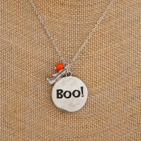 """Metal """"Boo"""" engraved pendant Halloween necklace.  - Pendant approximately 1"""" in diameter - Approximately 18"""" in length overall with 3"""" extender"""
