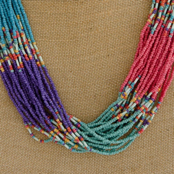 "Multi strand seed beaded boho statement necklace.   - Approximately 22"" in length with 2.5"" extender"