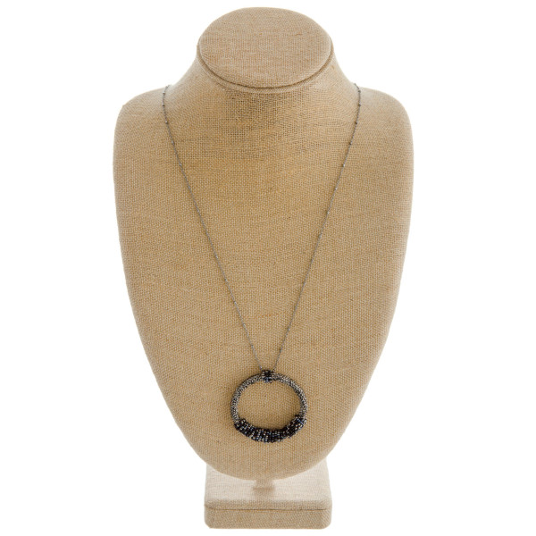 """Long satellite chain necklace featuring a rhinestone beaded pendant with seed beaded wrapped details. Pendant approximately 2.5"""" in diameter. Approximately 36"""" in length overall."""