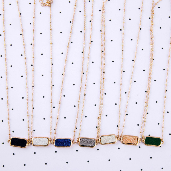 "Satellite chain druzy bar necklace. Bar approximately .75"" in length. Approximately 15"" in length overall."
