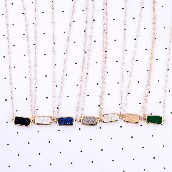 """Satellite chain druzy bar necklace. Bar approximately .75"""" in length. Approximately 15"""" in length overall."""