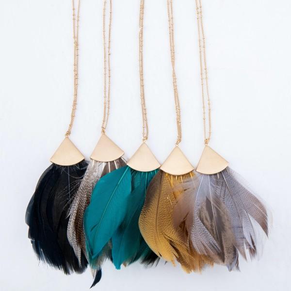 "Long boho feather pendant necklace. Pendant approximately 4"" in length. Approximately 38"" in length overall."