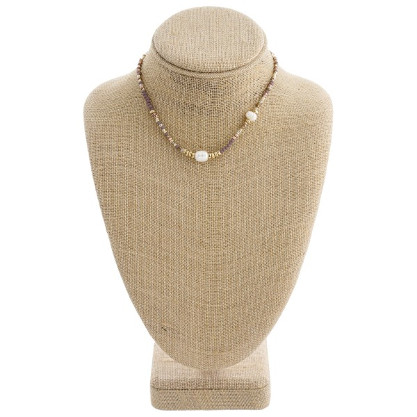 "Beaded pearl collar necklace with 2.75"" extender. Approximately 12"" in length."