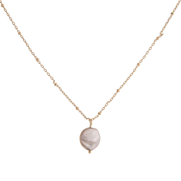 Satellite chain faux pearl necklace. Pendant approximately 1cm in diameter.