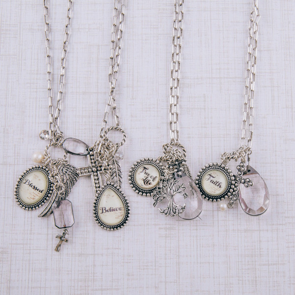 """Chain linked charm pendant necklace featuring oval dome """"Blessed"""" illustration details. Pendant approximately 2"""" in length. Approximately 34"""" in length overall."""