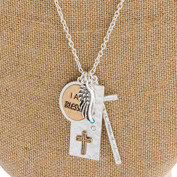 """Metal tone inspirational charm necklace featuring """"I am Blessed"""" engraved details. Approximately 34"""" in length."""