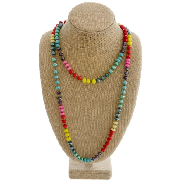 "Layered multicolor faceted beaded necklace with natural stone accents.   - Approximately 36"" in length"