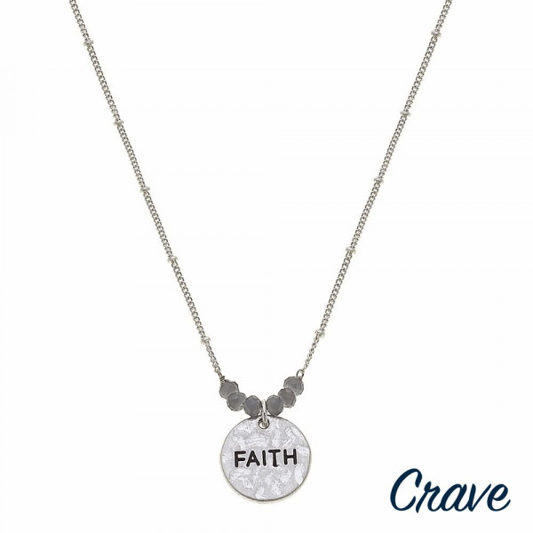 """Silver satellite chain hammered """"Faith"""" engraved pendant necklace featuring beaded accents. Pendant approximately .5"""" in diameter. Approximately 16"""" in length overall."""