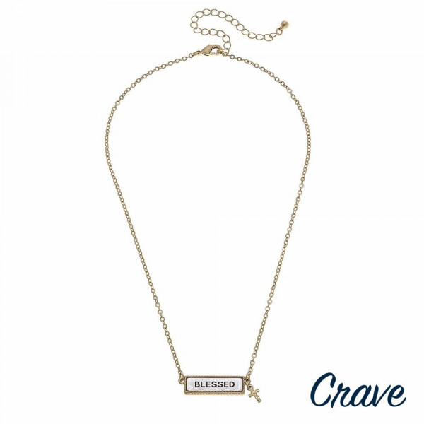 "Gold cable chain ""Blessed"" engraved two tone reversible bar pendant necklace. Pendant approximately 1"" in length. Approximately 16"" in length overall."